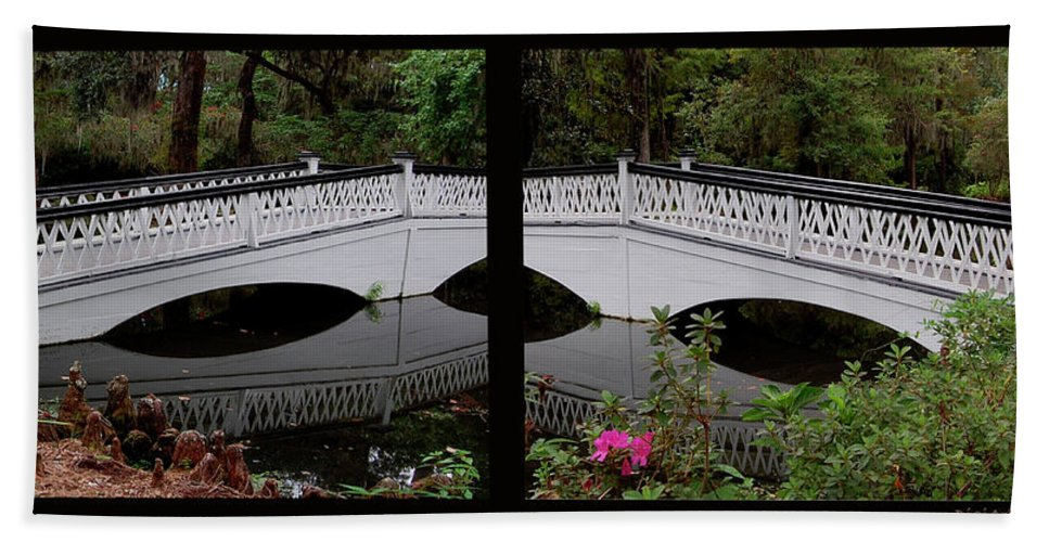 Bridges Beach Towel featuring the digital art Two Viewpoints by DigiArt Diaries by Vicky B Fuller