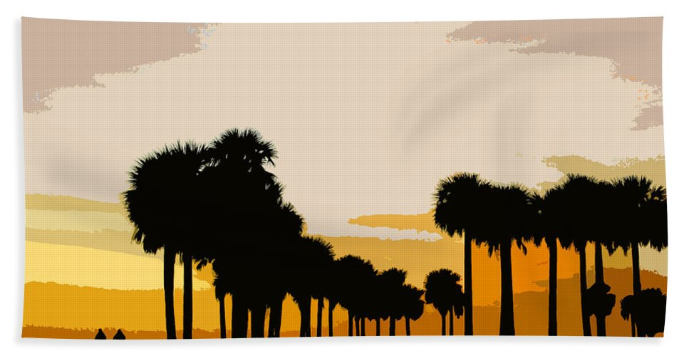 Palm Trees Beach Towel featuring the painting Two With The Palms by David Lee Thompson