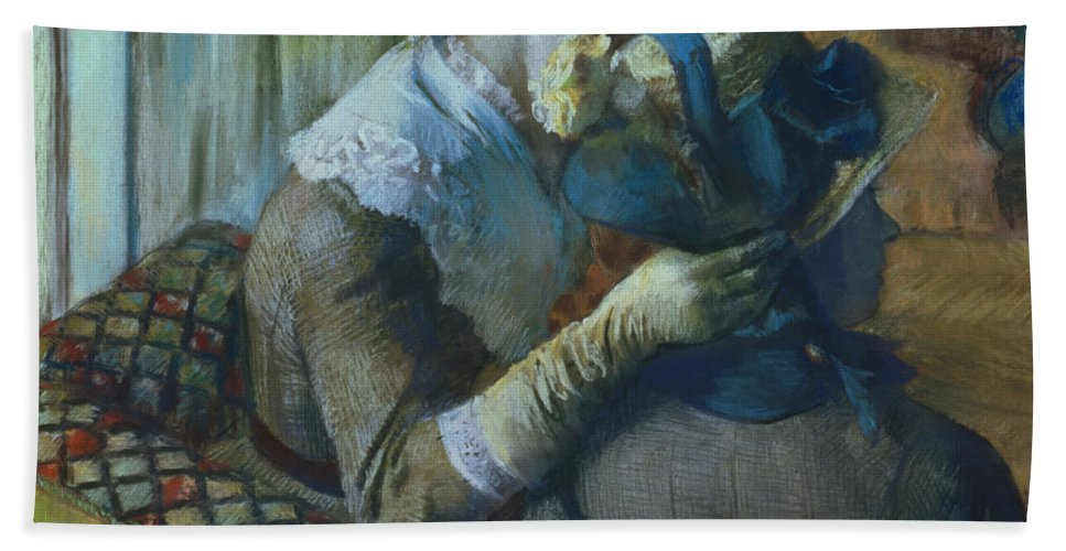 Impressionist; Female; Interior; Bonnet; Sofa; Seated; Caress; Lesbian; Annenberg Collection; Palm Springs; Straw Hat; Boater; Ribbon; Femme; Amie; Amitie; Confidence; Intimite; Conversation; Amies Beach Towel featuring the painting Two Women by Edgar Degas