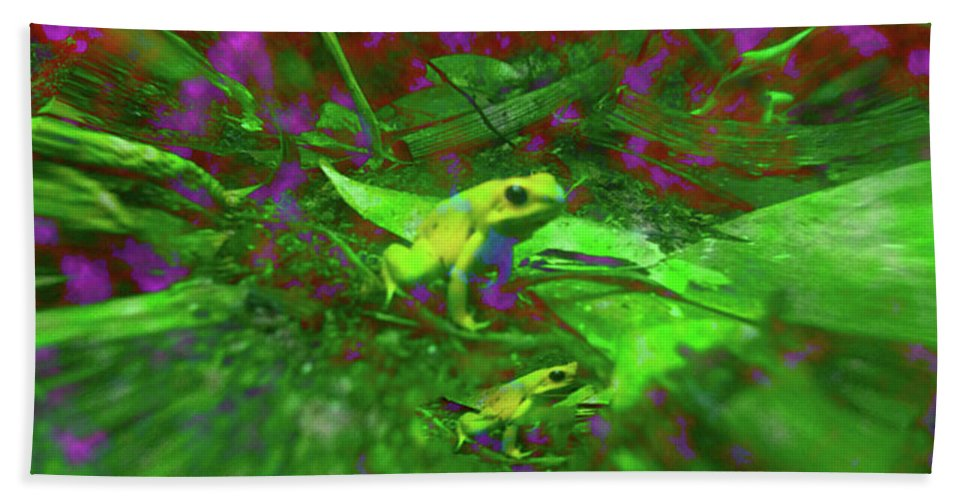 Frogs Beach Towel featuring the digital art Two Yellow Frogs by Donna Brown