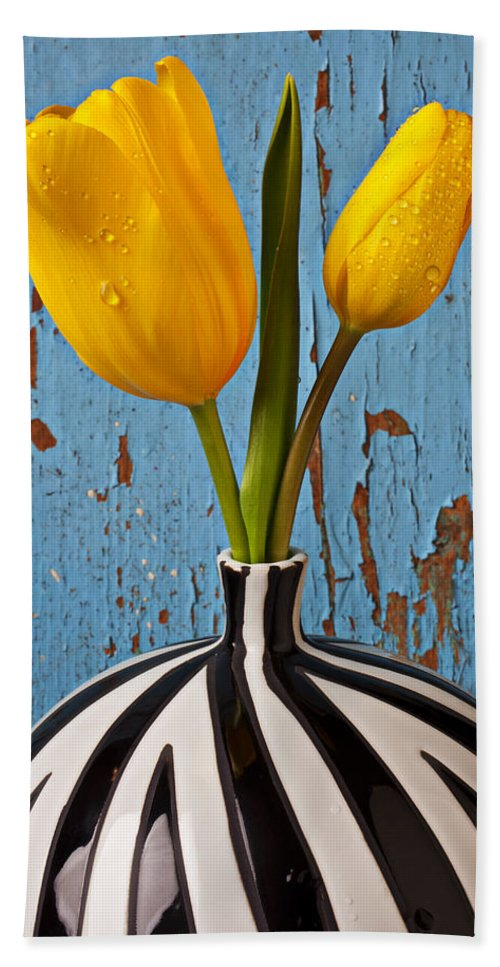Two Yellow Beach Towel featuring the photograph Two Yellow Tulips by Garry Gay