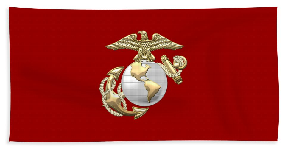 'military Insignia & Heraldry 3d' Collection By Serge Averbukh Beach Towel featuring the digital art U. S. Marine Corps Eagle Globe And Anchor - E G A On Red Leather by Serge Averbukh