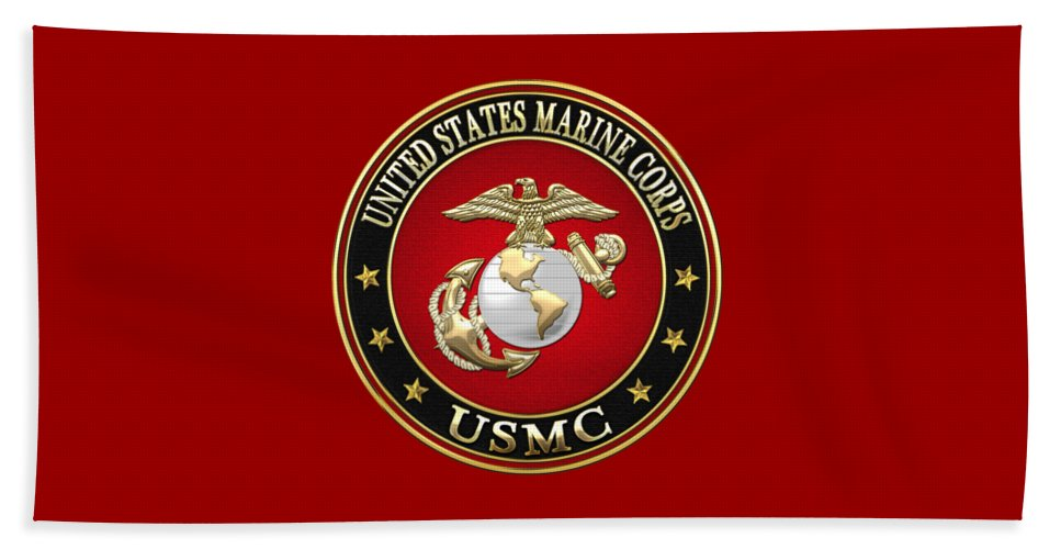 'military Insignia & Heraldry 3d' Collection By Serge Averbukh Beach Towel featuring the digital art U. S. Marine Corps - U S M C Emblem Special Edition by Serge Averbukh