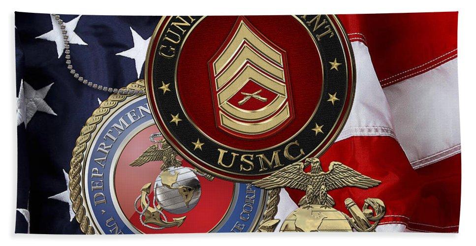 Military Insignia 3d By Serge Averbukh Beach Towel featuring the digital art U. S. Marine Gunnery Sergeant Rank Insignia Over American Flag by Serge Averbukh
