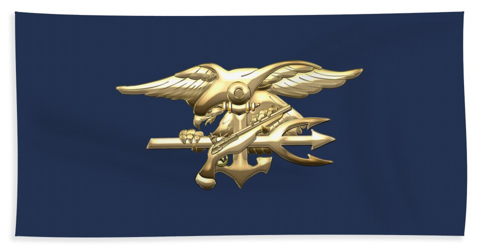 'military Insignia & Heraldry 3d' Collection By Serge Averbukh Beach Towel featuring the digital art U. S. Navy S E A Ls Emblem On Blue Velvet by Serge Averbukh