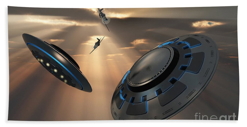 Digitally Generated Image Beach Towel featuring the digital art Ufos And Fighter Planes In The Skies by Mark Stevenson