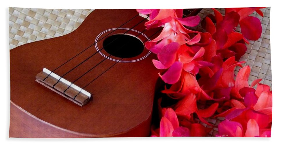 Ukulele Beach Towel featuring the photograph Ukulele And Red Flower Lei by Mary Deal