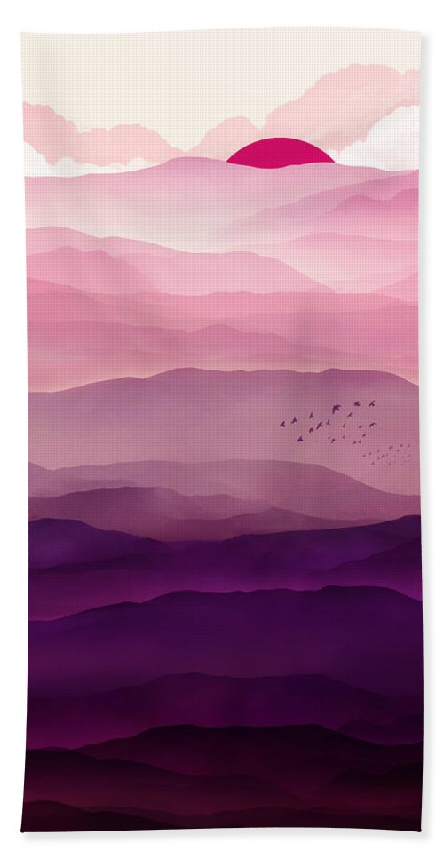 Violet Beach Towel featuring the digital art Ultraviolet Day by Spacefrog Designs