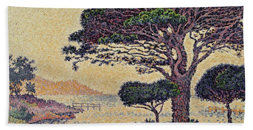 Umbrella Pines At Caroubiers Beach Towel featuring the painting Umbrella Pines At Caroubiers by Paul Signac