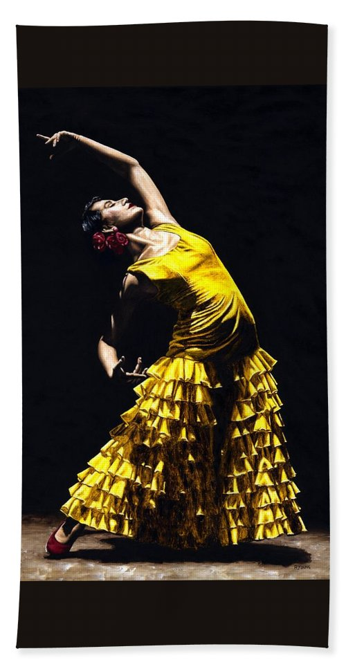 Flamenco Beach Towel featuring the painting Un momento intenso del flamenco by Richard Young