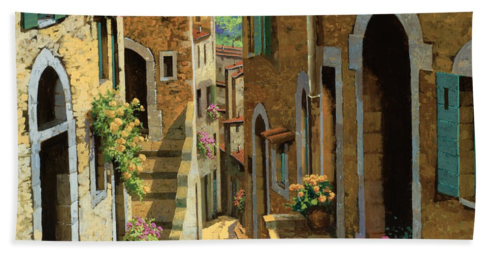 Village Beach Towel featuring the painting Un Passaggio Tra Le Case by Guido Borelli
