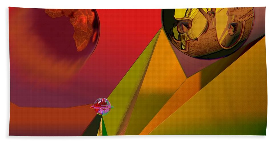 Earth Beach Towel featuring the digital art Unbalanced-the Source Of Violence by Helmut Rottler