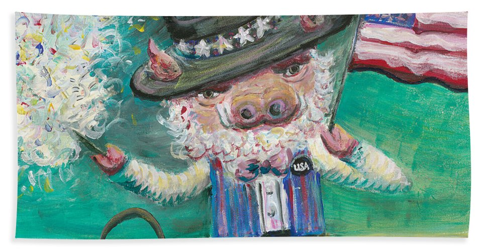 Fourth Of July Beach Towel featuring the painting Uncle Spam by Nadine Rippelmeyer