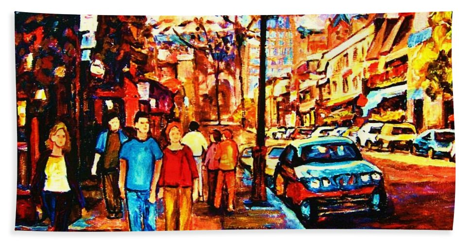 Montrealstreetscene Beach Towel featuring the painting Under A Crescent Moon by Carole Spandau