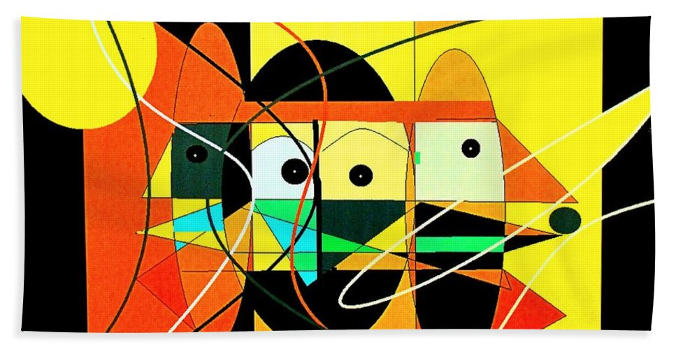 Abstract Beach Towel featuring the digital art Under A Mid Day Sun by Ian MacDonald