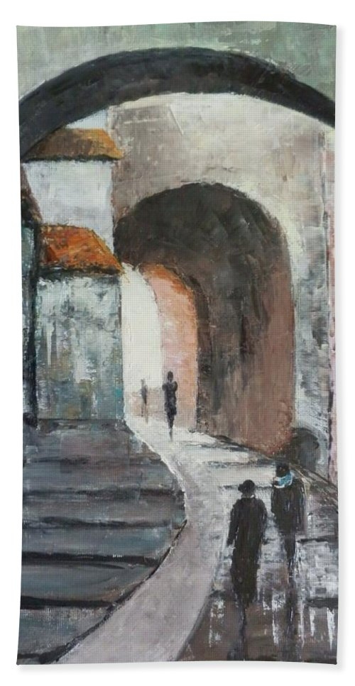 Sighisoara Beach Towel featuring the painting Under Arcades by Maria Karalyos