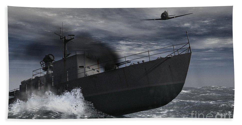War Beach Sheet featuring the digital art Under Attack by Richard Rizzo