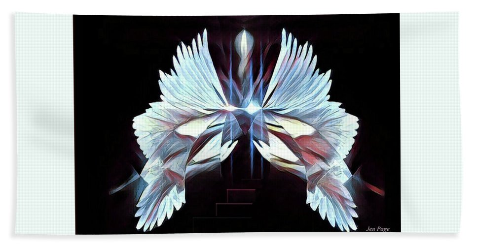 Jennifer Page Beach Towel featuring the digital art Under His Wings by Jennifer Page