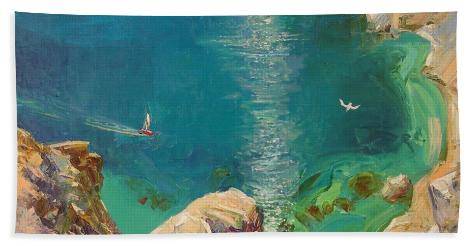 Landscape Beach Towel featuring the painting Under Motyl by Sergey Ignatenko