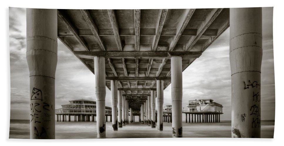 Pier Beach Towel featuring the photograph Under The Boardwalk by Dave Bowman