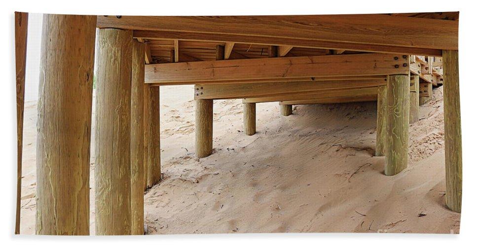 Beach Beach Towel featuring the photograph Under The Boardwalk by Erick Schmidt