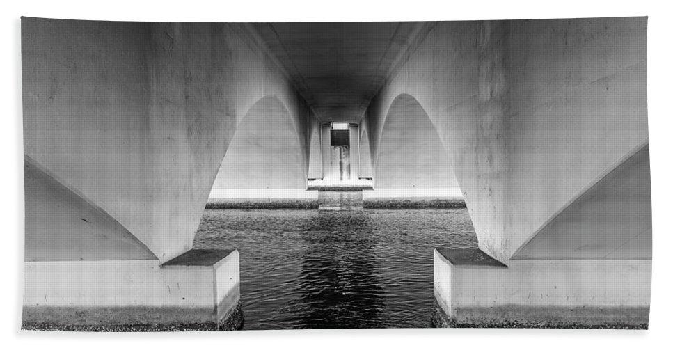 Bridge Beach Towel featuring the photograph Under The Bridge by Joel Cohen