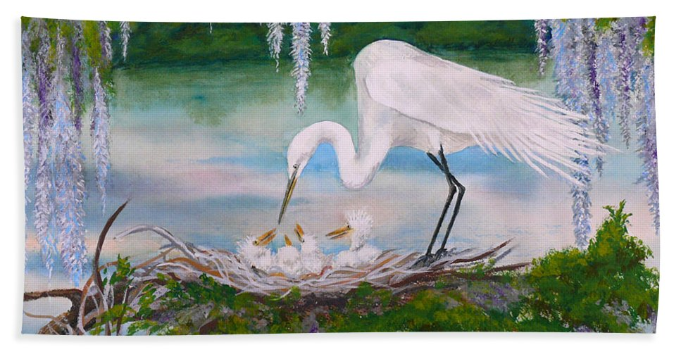 Egret Beach Towel featuring the painting Under The Canopy by Dee Carpenter