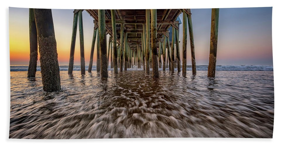 Old Orchard Beach Beach Towel featuring the photograph Under The Pier At Old Orchard Beach by Rick Berk