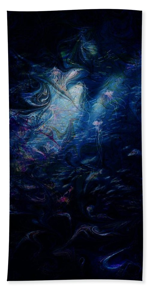 Abstract Beach Towel featuring the digital art Under the Sea by William Russell Nowicki