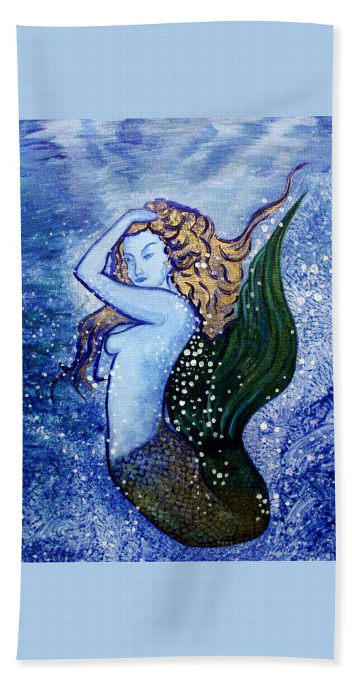 Mermaid Beach Towel featuring the painting Under The Sea by Zahna Smith