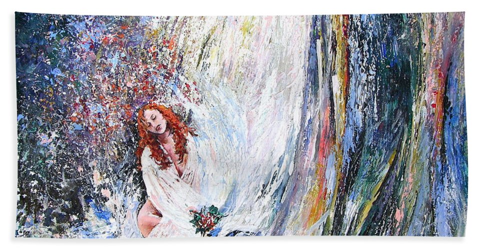 Acrylics Painting Woman Under Waterfall Beach Towel featuring the Under The Waterfall by Miki De Goodaboom