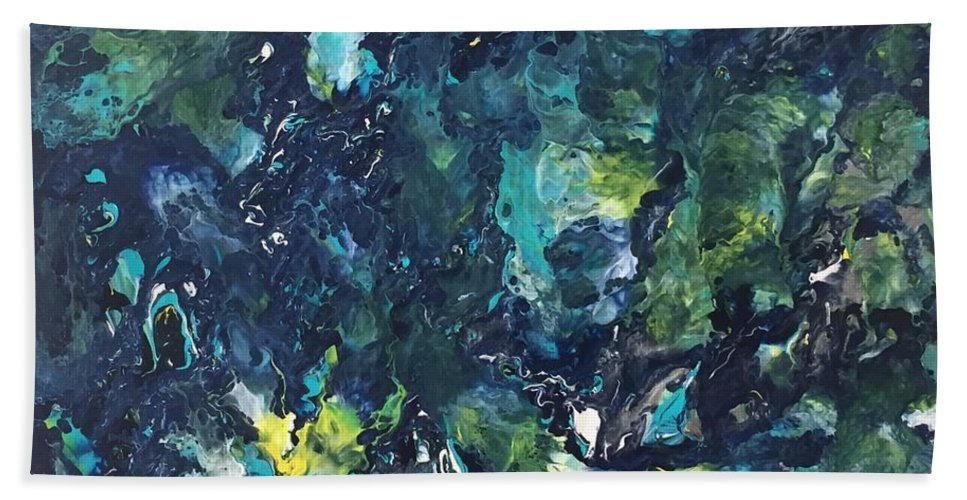 Fluid Beach Towel featuring the painting 'underwater Chaos' by Laura Noble