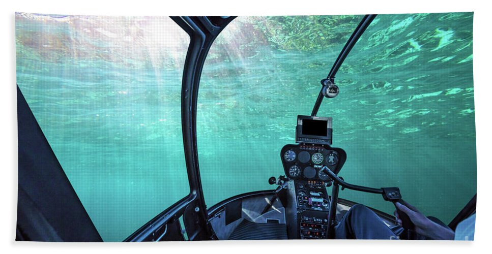 Underwater Scene Beach Towel featuring the photograph Underwater Ship Blue Ocean by Benny Marty