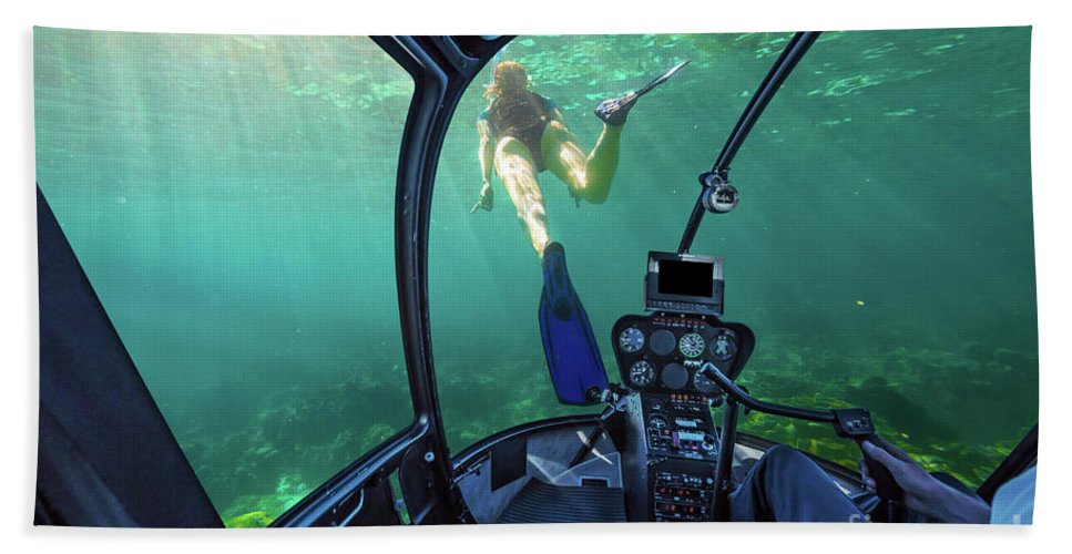 Undersea Beach Towel featuring the photograph Underwater Ship In Coral Reef by Benny Marty