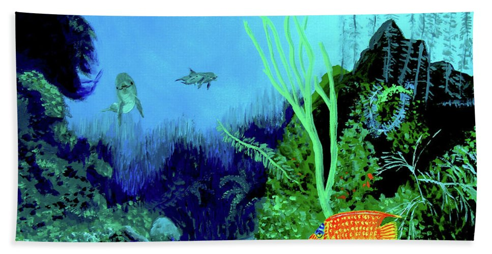 Wildlife Beach Sheet featuring the painting Underwater by Stan Hamilton