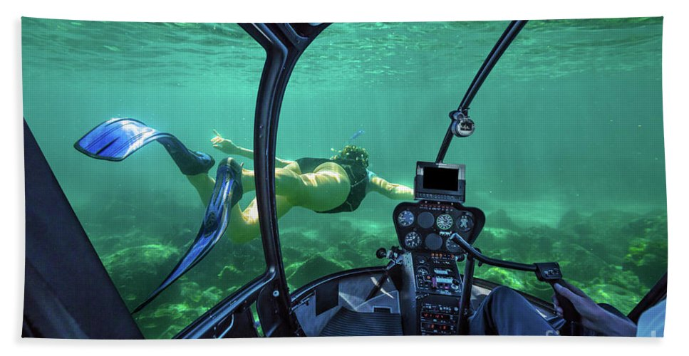 Snorkeling Beach Towel featuring the photograph Underwater Submarine Woman by Benny Marty