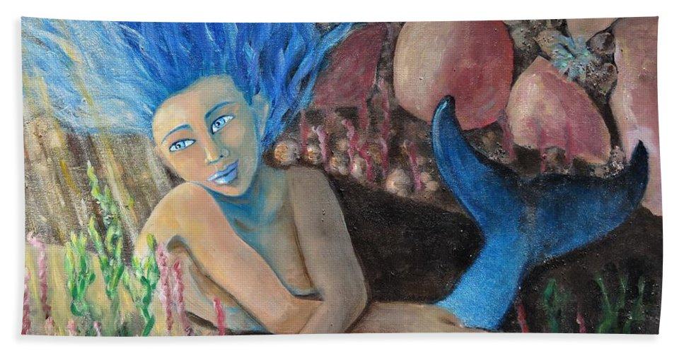 Mermaid Beach Towel featuring the painting Underwater Wondering by Laurie Morgan
