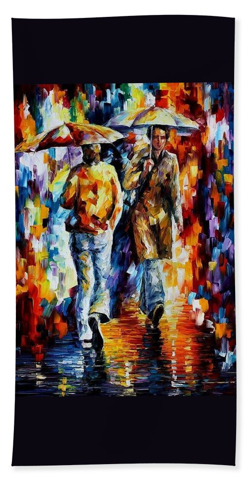 Afremov Beach Towel featuring the painting Unexpected Meeting by Leonid Afremov