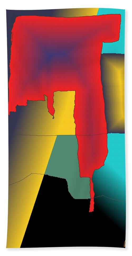 Red Beach Towel featuring the digital art Unexpected- Red by Helmut Rottler