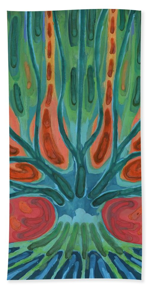 Colour Beach Towel featuring the painting Unfinished Tree by Wojtek Kowalski