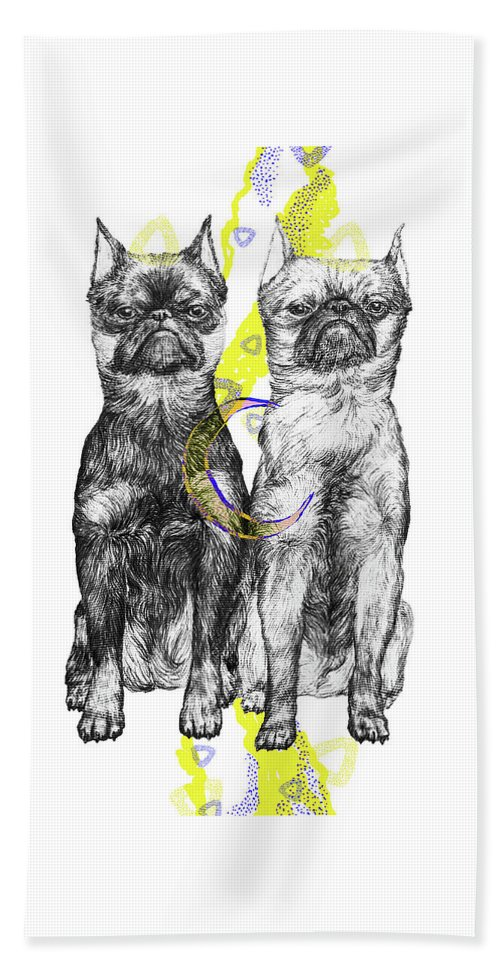 Dog Art Beach Towel featuring the drawing Unhappy by Elizaveta Mikheeva