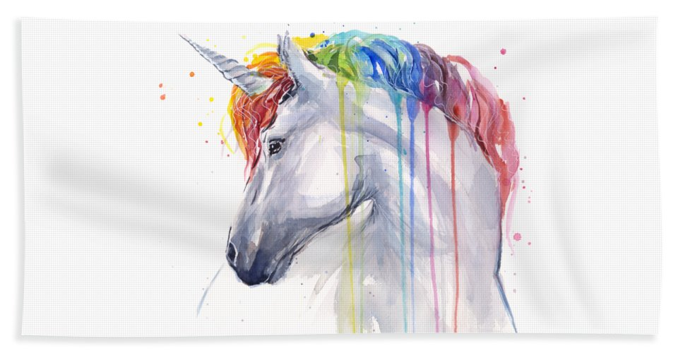Magical Beach Towel featuring the painting Unicorn Rainbow Watercolor by Olga Shvartsur