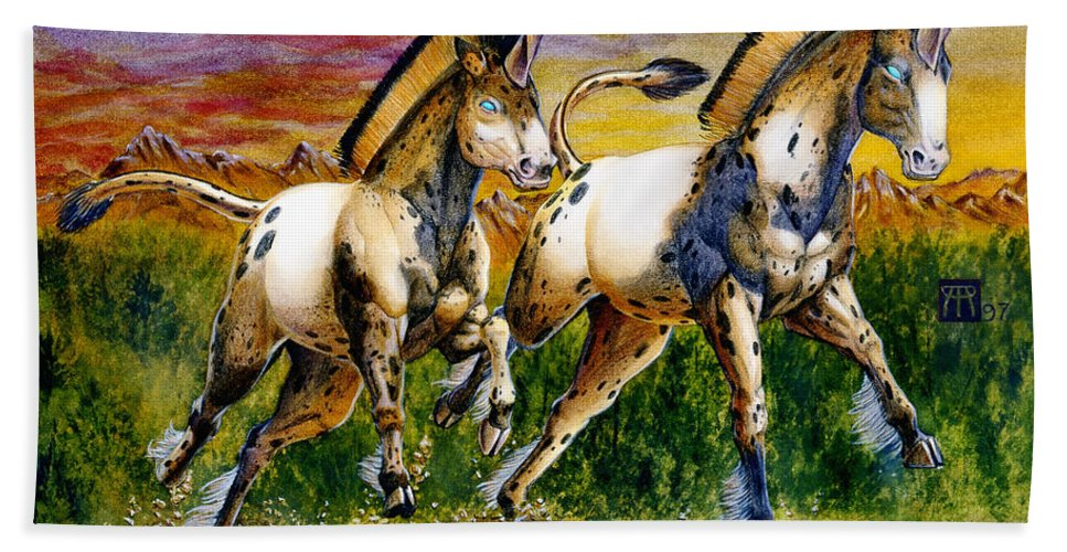 Artwork Beach Towel featuring the painting Unicorns In Sunset by Melissa A Benson