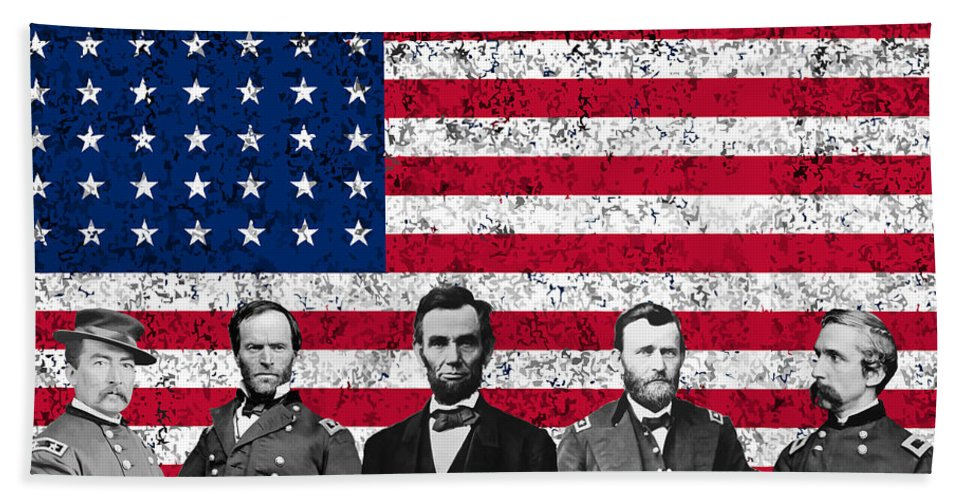 Abraham Lincoln Beach Towel featuring the mixed media Union Heroes And The American Flag by War Is Hell Store