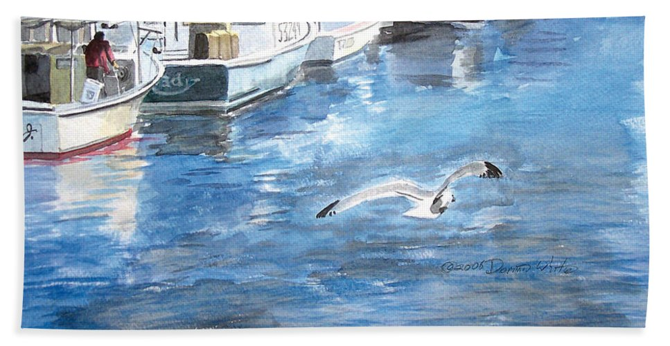 Seagull Beach Towel featuring the painting Union Wharf by Dominic White