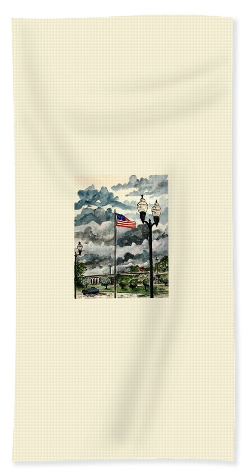 Usa Beach Towel featuring the painting United States Flag Over Alabama by Derek Mccrea