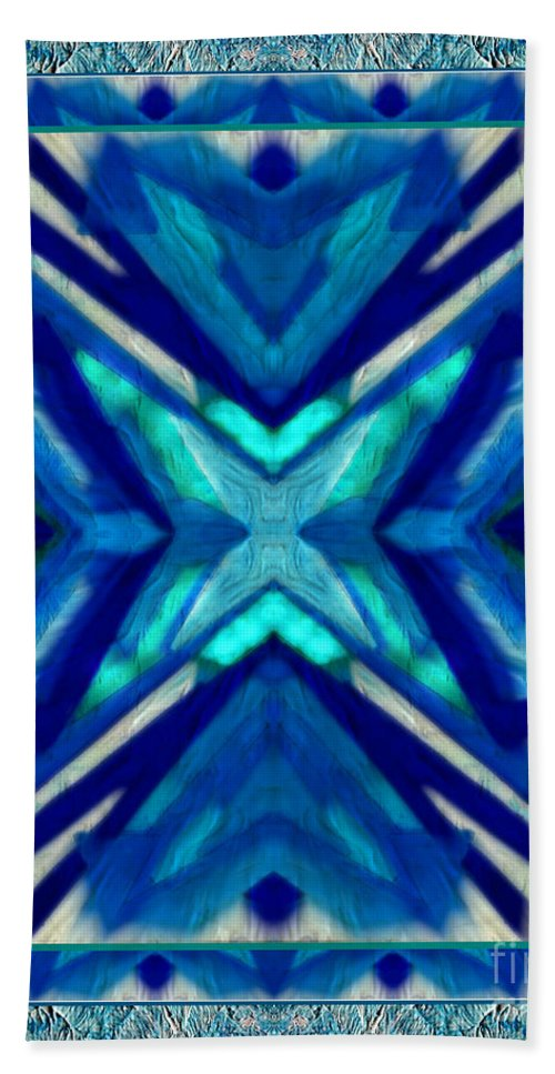 Simply The Blues By Wbk Beach Towel featuring the mixed media Simply The Blues by Wbk