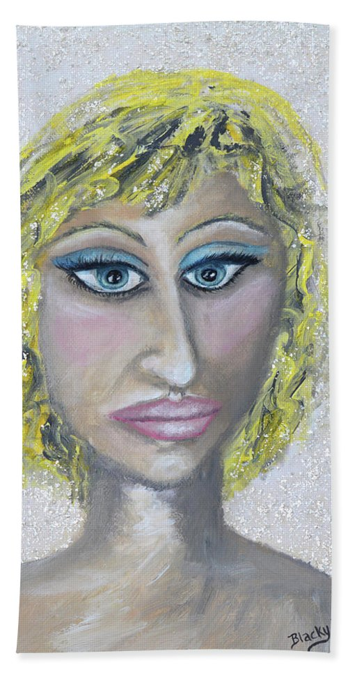 Blonde Beach Towel featuring the mixed media Unnatural Blonde by Donna Blackhall