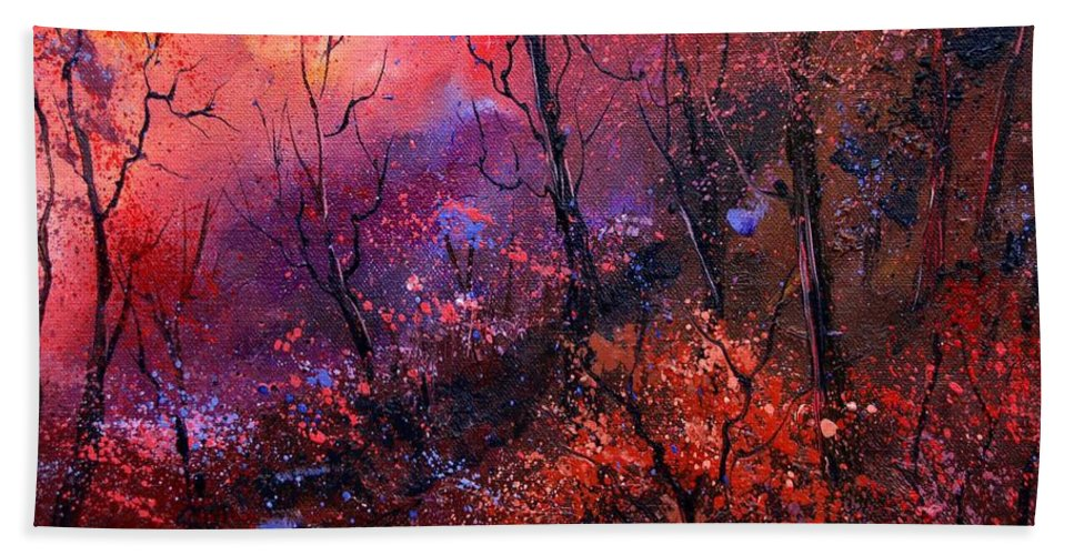 Wood Sunset Tree Beach Sheet featuring the painting Unset In The Wood by Pol Ledent