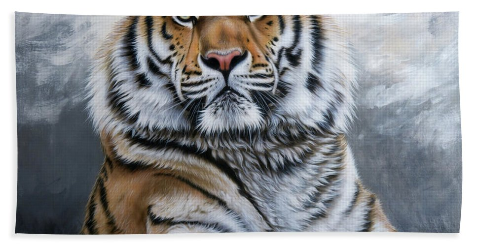 Tiger Beach Towel featuring the painting Untamed by Sandi Baker